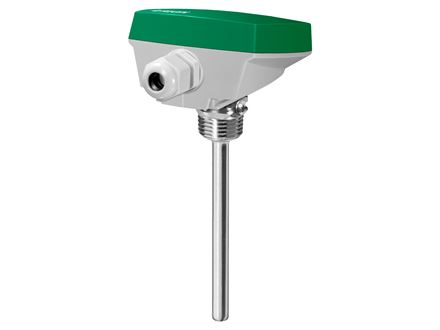 Immersion sensor with housing and well in acid-proof stainless steel.